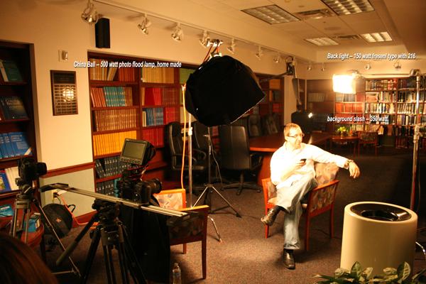 Set up for lighting interviews