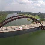 Drone shot of the Austin 360 Bridge